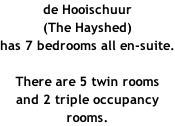 de Hooischuur (The Hayshed) has 7 bedrooms all en-suite.  There are 5 twin rooms and 2 triple occupancy rooms.